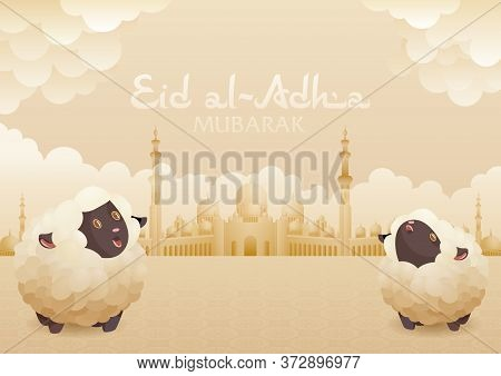 Eid Al Adha Mubarak Greeting Card With Sheep And Mosque Background. Holy Islam Month Muslim Communit