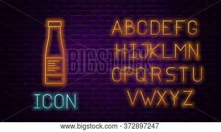 Glowing Neon Line Sauce Bottle Icon Isolated On Brick Wall Background. Ketchup, Mustard And Mayonnai