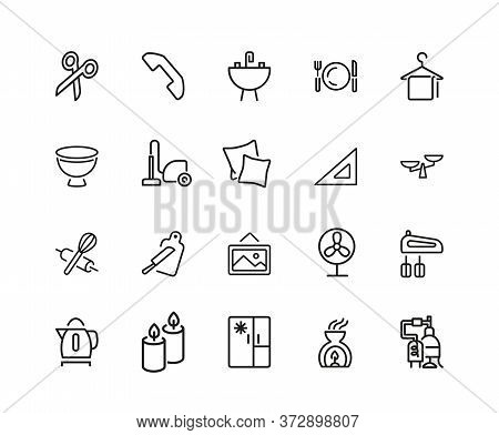 House Keeping Icons. Set Of Twenty Line Icons. Utensils, Domestic Appliance, Housecleaning. Housekee