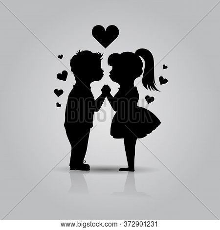 Cute Black Icon Of Kissing Couple Of Children. Boy And Girl Stand Holding Hands Before Kiss. First L