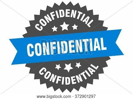 Confidential Sign. Confidential Blue-black Circular Band Label