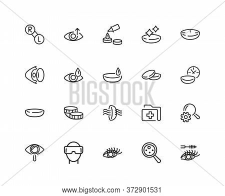 View Icons. Set Of Twenty Line Icons. Eyes Care, Contact Lens, Vr Glasses. View Concept. Illustratio