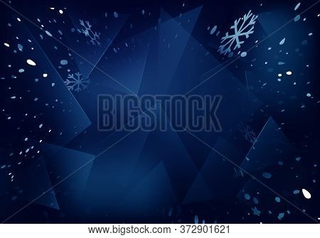 Vector Frosted Glass Blue Background With White Blizzard. Frozen Window Illustration With Snowflakes