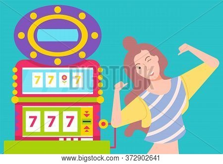 Happy Girl Near Slot Machine With 777 Seven. Woman Win Jackpot And Celebrate Success. Game For Gambl