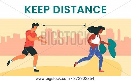 Female And Male Runners, Keeping The Distance As A Preventive Measure In Coronavirus Pandemic. Moder