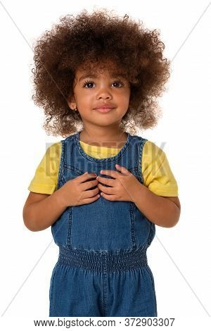 Childhood And People Concept-portrait Of Lovely African American Little Girl, Over White Background,