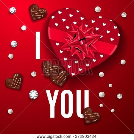 I Love You Red Greeting Card. Happy Valentines Day Celebrate Banner. Top View On Romantic Compositio