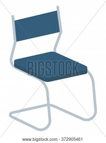 One Basic Piece Of Furniture, Chair For Room Furnishing. Empty Chair With Blue Back And Metal Frame