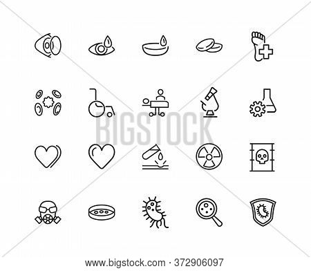 Medical Help Icons. Set Of Twenty Line Icons. Laboratory, Heart Decease, Virus. Medicine Concept. Il