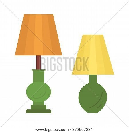 Torchiere Lamp Designed To Stand On Floor Isolated On White. Vector Retro Standard Lamp, Piece Of Fu