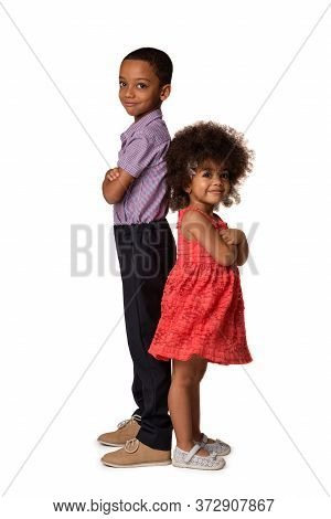 Two African American Siblings In Full Length Standing Back To Back With Arms Crossed, Isolated On Wh