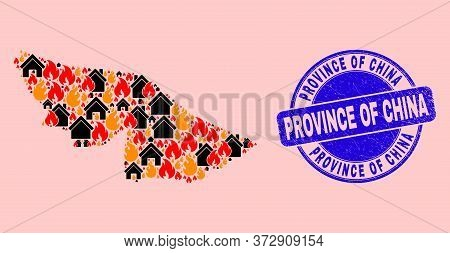 Flame And Property Collage Acre State Map And Province Of China Corroded Watermark. Vector Collage A