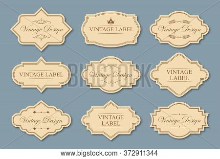 Retro Craft Labels Set. Text Samples In Traditional Frames, Vintage Tags With Borders In Victorian S
