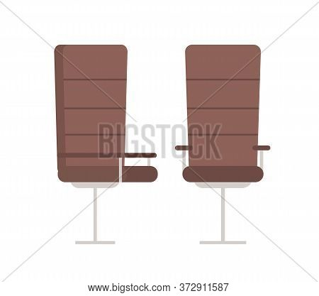 Pair Of Boss Armchairs, Comfortable Big Leather Chairs Isolated On White. Vector Office Seats, Empty