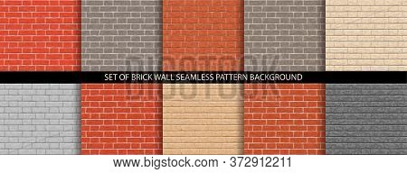 Set Of Brick Wall Pattern Seamless Background. Different Brick Background Textures - Orange, Red, Gr