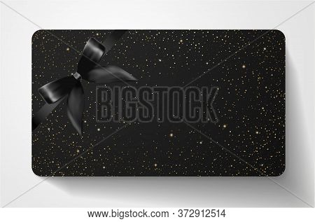 Gift Card With Twinkling Stars, Sparkling Elements And Bow (ribbon) On Black Background. Template Us