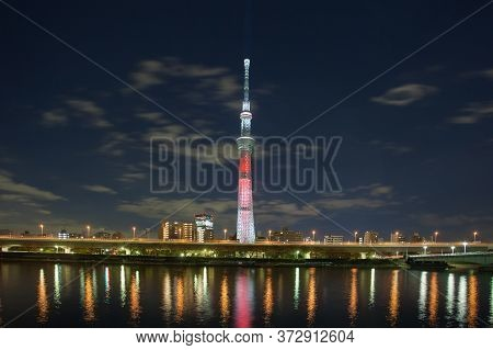 Tokyo - Dec 18 , 2015 : View Of Tokyo Sky Tree (634m) , The Highest Free-standing Structure In Japan