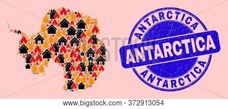 Flame And Houses Combination Antarctica Continent Map And Antarctica Textured Stamp Seal. Vector Col