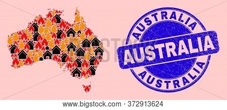 Fire And Homes Combination Australia Map And Australia Grunge Stamp Imitation. Vector Collage Austra