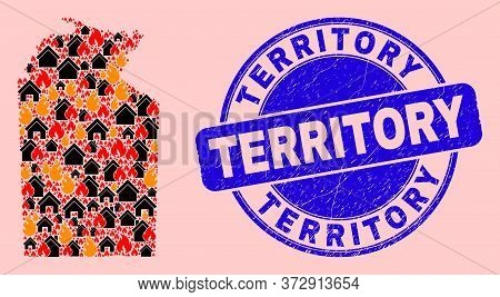Flame And Realty Composition Australian Northern Territory Map And Territory Dirty Stamp Seal. Vecto
