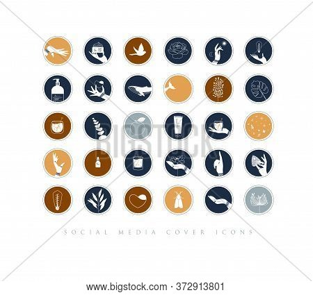Hands, Labels, Cosmetics Bottles, Decorative Symbols, Branches, Flowers, Animals And Various Objects