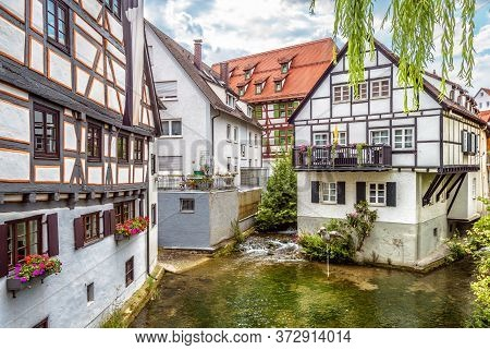 Street With Vintage Half-timbered Houses In Old Town Of Ulm, Germany. Medieval Fish Quarter Is Touri