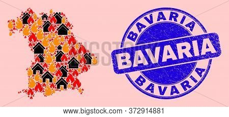 Fire Disaster And Property Collage Bavaria Land Map And Bavaria Unclean Stamp Seal. Vector Collage B