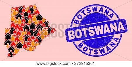Fire Disaster And Buildings Collage Botswana Map And Botswana Rubber Watermark. Vector Collage Botsw
