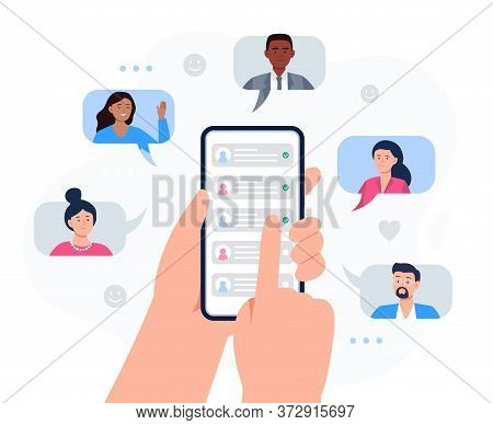 Hands Holding A Phone With Contacts Of Friends. Refer A Friend Concept. Social Media Marketing For F