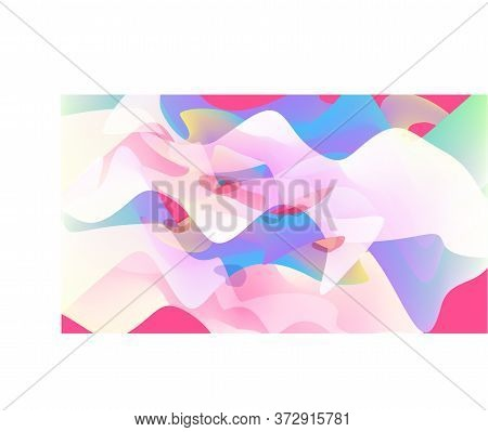 Abstract Multicolor Banner. Blurry Transparent Spots Background. Pink, White, Blue, Lilac Liquid Sta