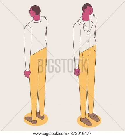 Isometric Full Color Outline Man Standing In Business Clothes. Concept Simplified Male Character Fro