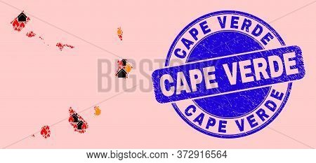 Fire And Homes Collage Cape Verde Islands Map And Cape Verde Dirty Stamp Imitation. Vector Collage C