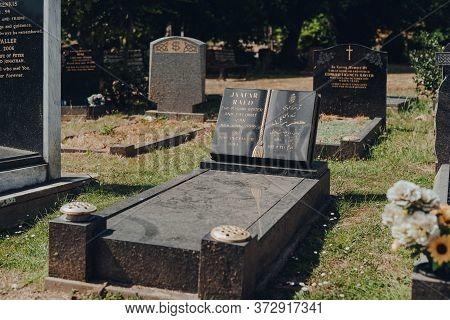 London, Uk - June 16, 2020: Tomb Of Iranian Writer And Diplomat Jaafar Raed Inside Hampstead Cemeter
