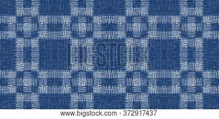 Sky Linear Modern Vector Seamless Pattern. Water Vintage Plaid Backdrop. Fabric Grid Background. Blu