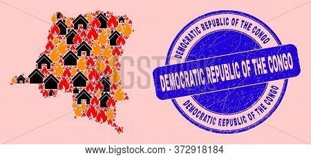 Fire And Homes Collage Democratic Republic Of The Congo Map And Democratic Republic Of The Congo Dir