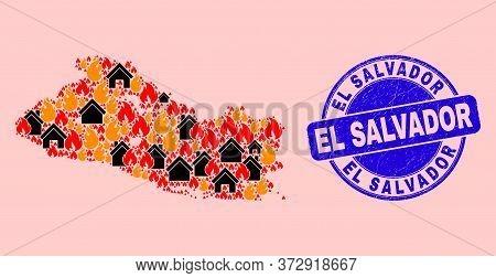 Fire And Property Combination El Salvador Map And El Salvador Scratched Stamp. Vector Collage El Sal