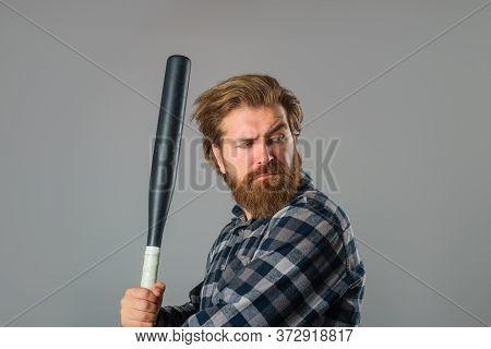 Baseball Bat. Man With Baseball Bat. Man Holds The Bat. Baseball. Sport Bat. Sport Equipment. Baseba