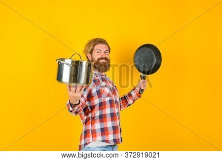 Bearded Man With Saucepan Frypan. Man Chef With Pot. Saucepan. Cooking. Kitchenware. Cooking Utensil