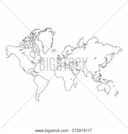 Outline Of A Detailed World Map Isolated On White Background. All Parts Of The World With A Detailed
