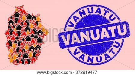 Fire Disaster And Property Combination Flores Island Of Azores Map And Vanuatu Rubber Stamp. Vector