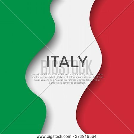 Abstract Waving Italy Flag. Creative Background For Italy Holidays Postcard Design. Business Booklet
