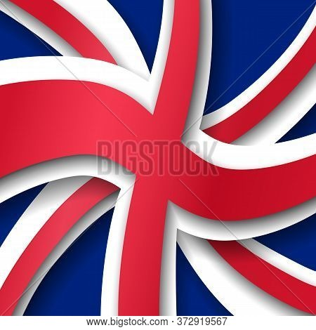 Great Britain Flag Background. Uk Flag Pattern In Cut Paper Style. National Poster Of The United Kin
