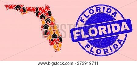 Fire Hazard And Homes Composition Florida State Map And Florida Scratched Stamp. Vector Mosaic Flori