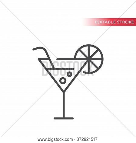 Cocktail Or Martini Glass Thin Line Vector Icon. Martini Drink With Straw And Lemon Slice Outline Sy