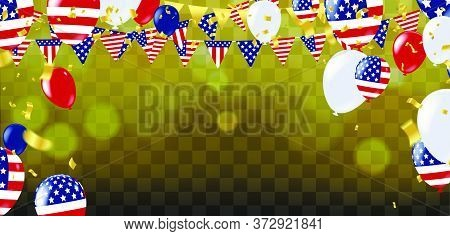 Confetti Background With Party Poppers And Air Balloons Isolated. Festive Vector Illustration, Usa