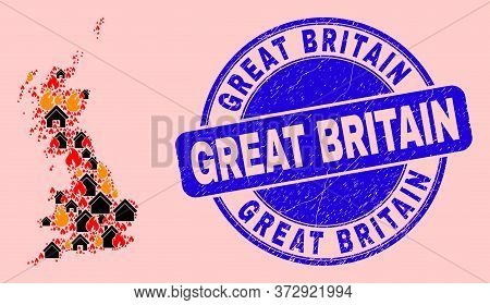 Fire Disaster And Homes Collage Great Britain Map And Great Britain Rubber Stamp Imitation. Vector C