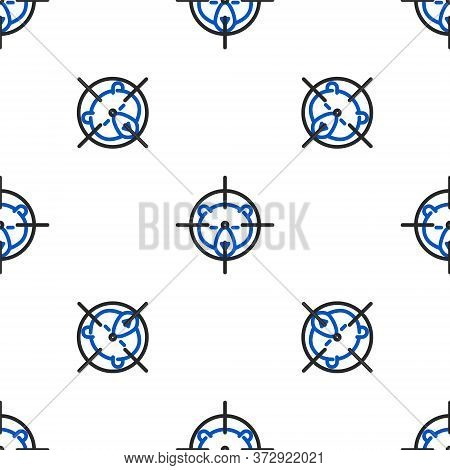 Line Hunt On Bear With Crosshairs Icon Isolated Seamless Pattern On White Background. Hunting Club L