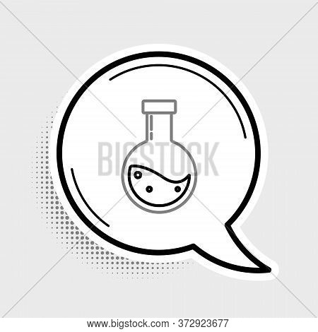Line Bottle With Potion Icon Isolated On Grey Background. Flask With Magic Potion. Happy Halloween P