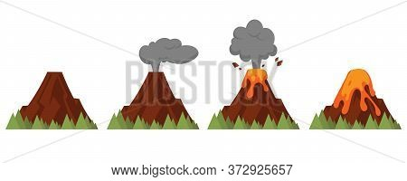 Vector Set Of Volcanoes Of Varying Degrees Of Eruption. Flat Style Illustration With Isolated Object