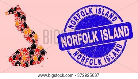 Fire And Property Collage Isabela Island Of Galapagos Map And Norfolk Island Textured Stamp Imitatio